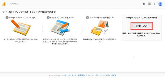 Googleアナリティクスお申込み画面