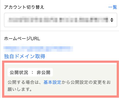 ホームページ公開状況の表示例
