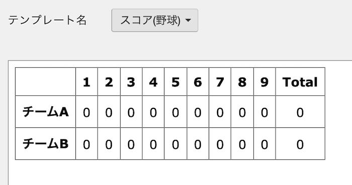 野球チームのサンプルホームページ