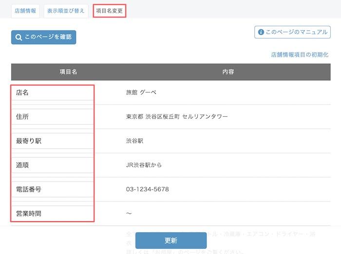 グーペ管理画面の店舗情報画面